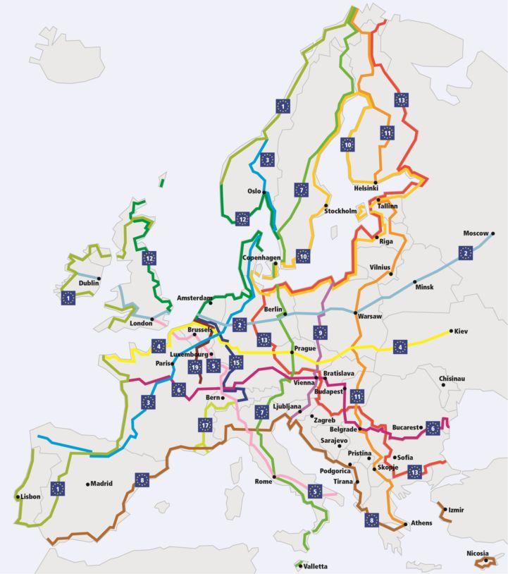 voyage à velo carte eurovelo